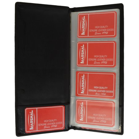 Genuine Leather Large Business Card Holder Book Organizer Office