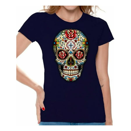 Awkward Styles Colorful Skull t-shirt top womens skull shirts day of the dead t shirt costume dia de Los Muertos costume t shirt candy skull sugar skull costume t shirt skull for women Mexican Mexico - Women Day Of The Dead