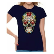 Awkward Styles Colorful Skull t-shirt top womens skull shirts day of the dead t shirt costume dia de Los Muertos costume t shirt candy skull sugar skull costume t shirt skull for women Mexican Mexico