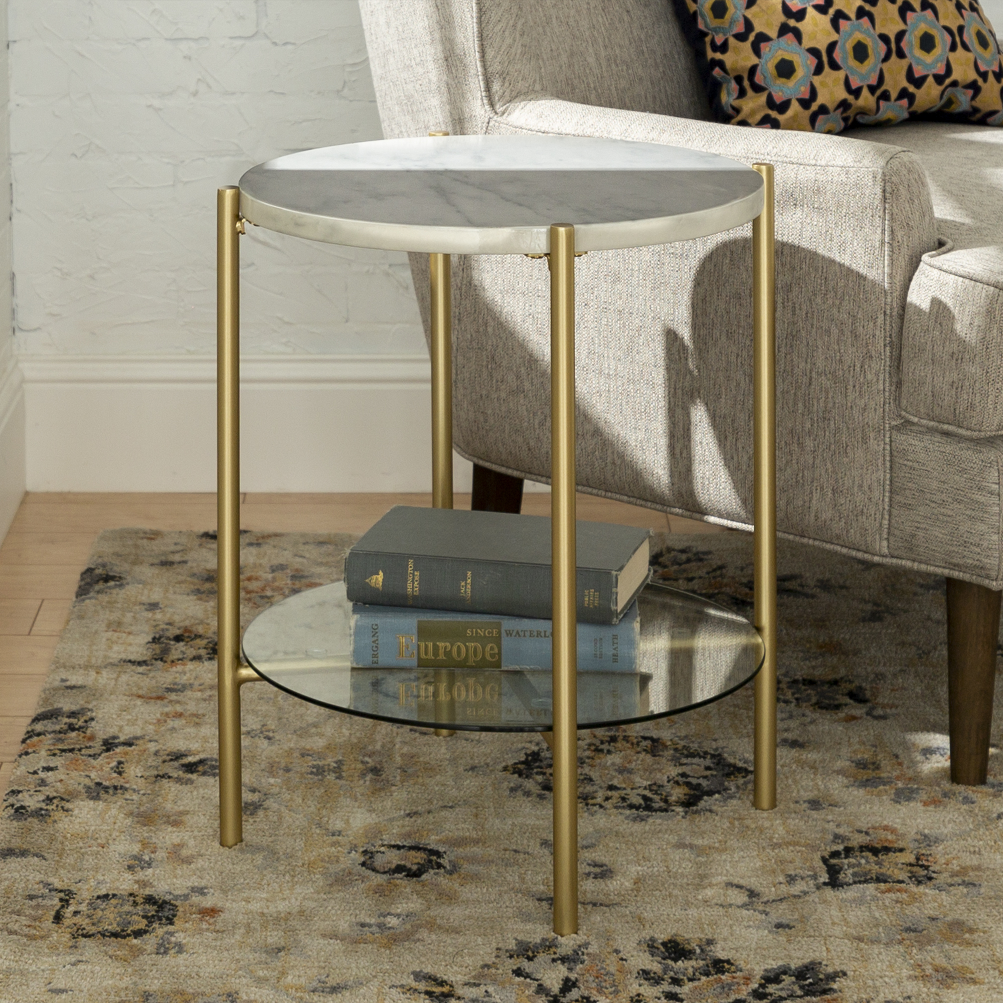 """Manor Park 20"""" Mid-Century Round Side End Table - White Marble & Gold"""