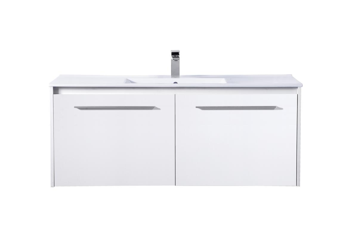 48 Inch Single Bathroom Floating Vanity In White Walmart Com Walmart Com