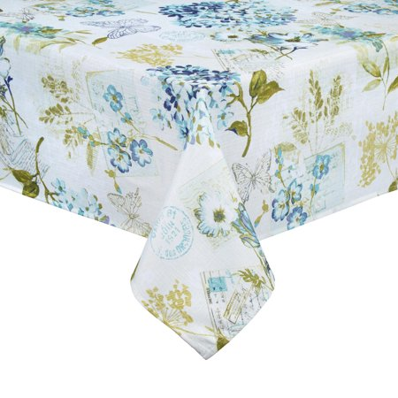 Blue Hydrangea Tablecloth Flower Garden Print Polyester Fabric (60 x 84 Rectangle) ()
