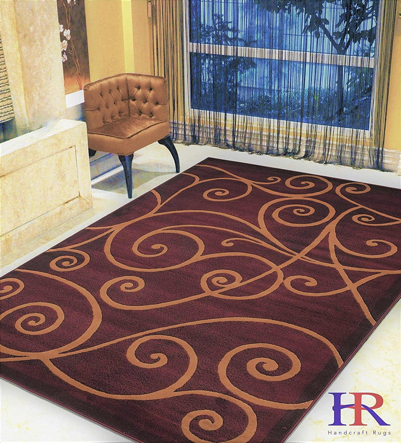 Modern Contemporary Area Rugs-Abstract Wavy Swirls -Shed Free Burgundy Red/Beige/Ivory/Black