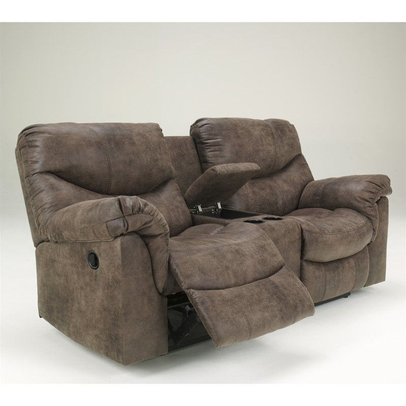 ashley furniture alzena faux leather double reclining loveseat