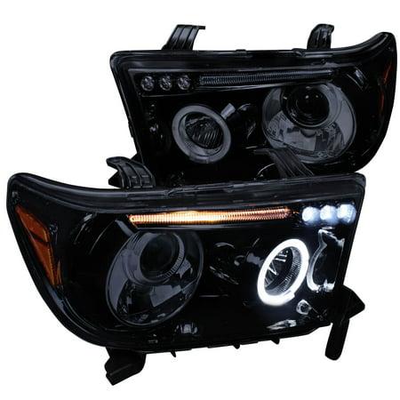 Spec-D Tuning 2007-2013 Toyota Tundra Led Halo Projector Headlights Piano 2007 2008 2009 2010 2011 2012 2013 (Left + Right) 2010 Toyota Tundra Led