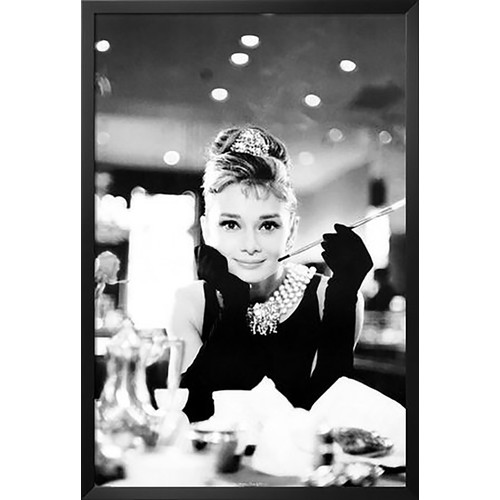 Buy Art For Less 'Audrey Hepburn Movie - Hollywood Icon Breakfast at Tiffany's with Cigarette' Framed Photographic Print