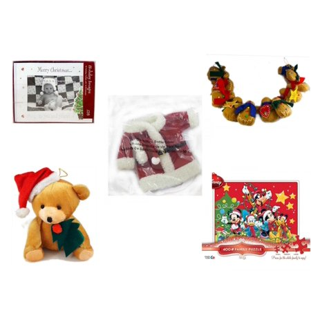 """Christmas Fun Gift Bundle [5 Piece] -  Images """"Merry  To You And Yours."""" Photo Frame Cards w/Envelopes 16 Count - String of Gingerbread  w/ Wood Stars & Hearts 4.5"""