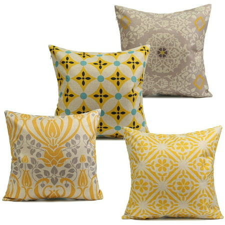 On Clearance 18''x18'' Cotton and Linen Retro Yellow Flower Cotton Linen Pillow Case Cushion Cover Home Sofa Back Throw (Linen Throw Pillows)