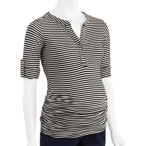 Oh! Mamma Maternity Thin Striped Henley with Flattering Side Ruching