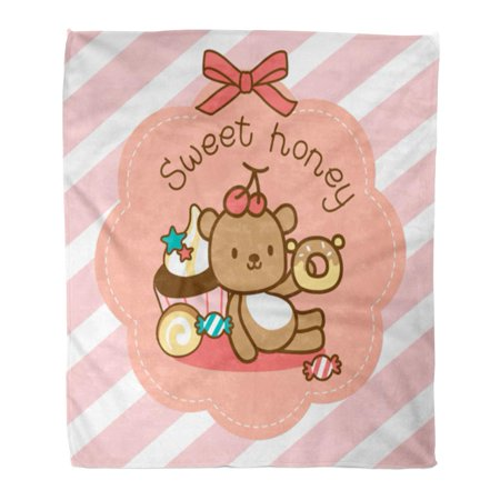 ASHLEIGH Throw Blanket 58x80 Inches Brown Candy Sweety Bear Sitting with Dessert Pink Toffee Appetizing Bow Cafe Warm Flannel Soft Blanket for Couch Sofa Bed