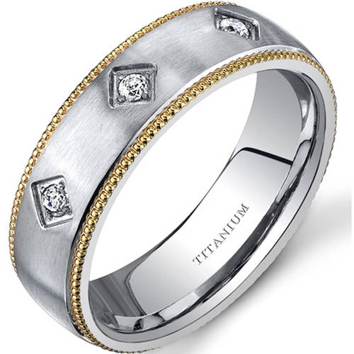 Oravo 6.0mm Men's Yellow-Tone Titanium Wedding Band Ring