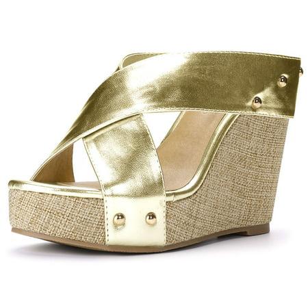 2b07ae58b197 Unique Bargains - Unique Bargains Women s Linen Platform Open Toe Slide Wedge  Sandals Gold Tone (Size 6.5) - Walmart.com