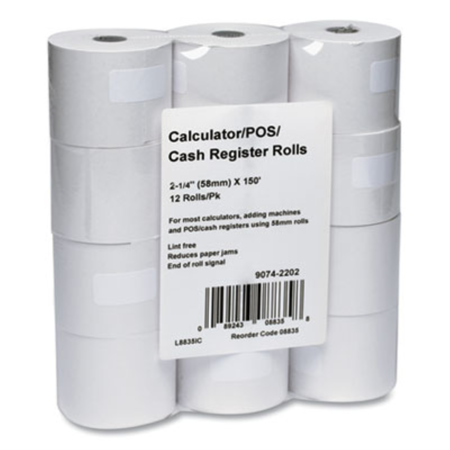 POS & Register Rolls Adding Machine/Calculator Roll 2-1/4x150 ft ...