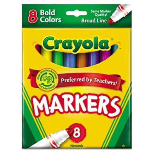 Crayola Regular Bold Markers - Bold Marker Point Type - Conical Marker Point Style - Copper, Golden Yellow, Teal, Emerald, Azure, Plum, Raspberry Ink - 8 / Set (587732)