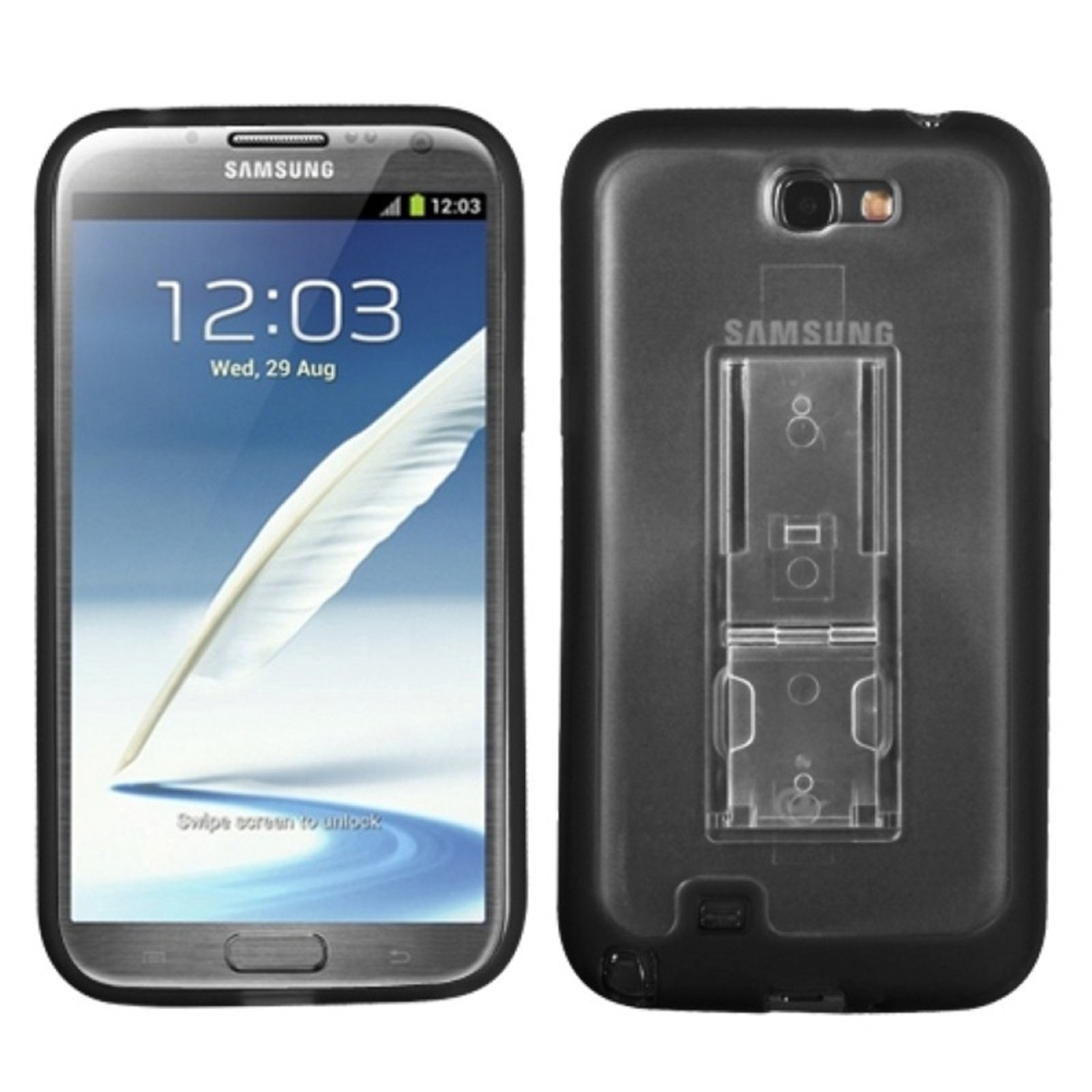 Insten Transparent Clear/Solid Black (With Stand) Gummy Cover Case for SAMSUNG: Galaxy Note II (T889/I605/N7100)