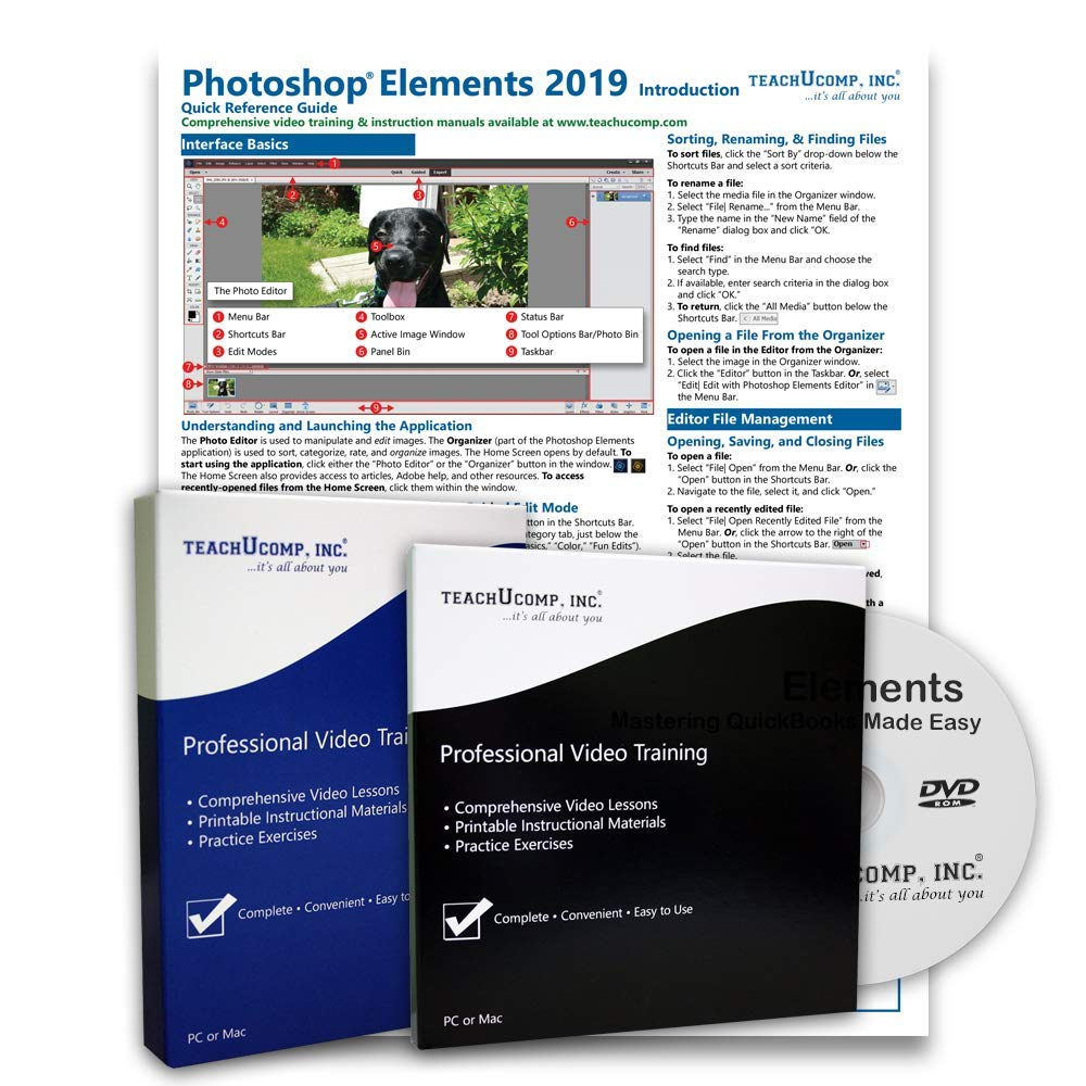 Learn Adobe Photoshop Elements 2019 Deluxe Training Tutorial Package Includes Video Lessons, PDF Instruction Manual, Testing Materials, and Certificate of Completion