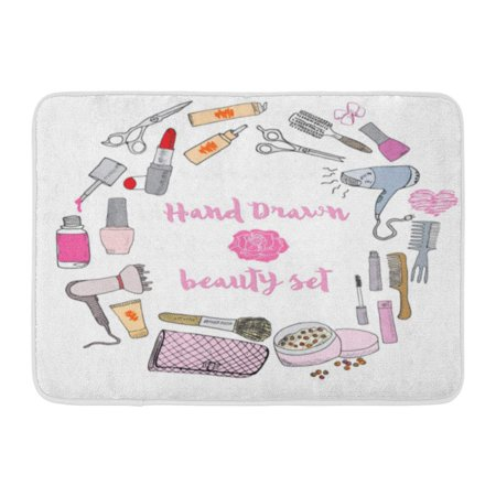 GODPOK Hand Collection of Make Up Cosmetics and Beauty Items with Hairbrushes Dryers Lipstick and Nails Polish Rug Doormat Bath Mat 23.6x15.7 inch ()