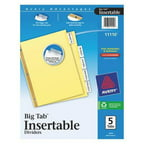 AVERY 11110 Index Tab Set, Insertable, 5 Tabs, Clear