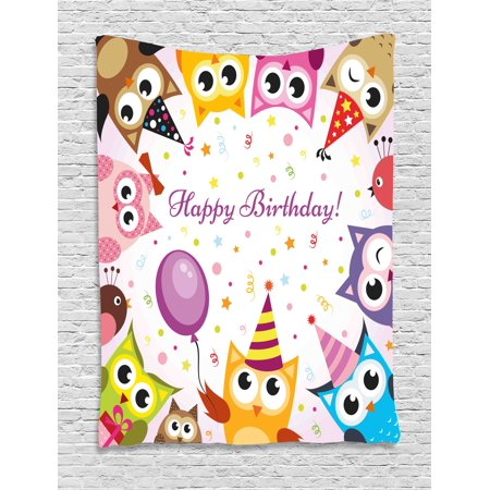 Birthday Decorations for Kids Tapestry, Party Owl Family with Colorful Cone Hats on Confetti Backdrop, Wall Hanging for Bedroom Living Room Dorm Decor, 40W X 60L Inches, Multicolor, by Ambesonne