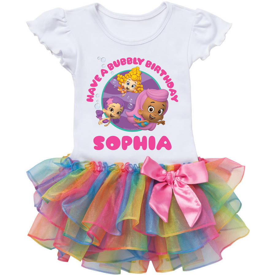 Personalized Bubble Guppies Girls Birthday Rainbow Tutu Tee