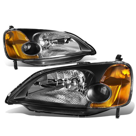 For 2001 to 2003 Honda Civic OE Style Headlight Black Housing Amber Corner Headlamp EM ES 02 (Civic Cylinder Head)