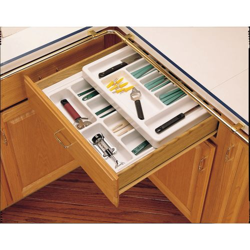 Rev-A-Shelf RT 12-3F Rolling Tray Series Shallow Cutlery Tray with Rolling Top F