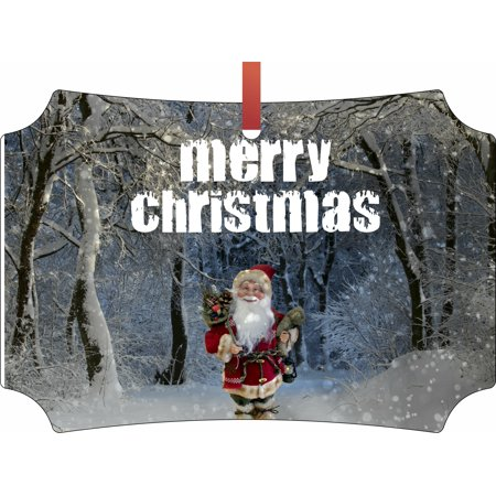 Merry Christmas - Santa in Snow Scene - TM Flat Berlin-Shaped Double-Sided Aluminum Christmas Tree Ornament Made in the USA (Christmas Snow Scenes)