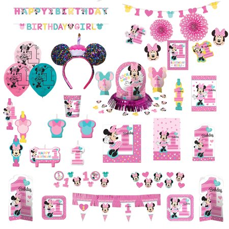 Disney Minnie Mouse Baby Girl 1st Birthday Party Ultimate Supply 16 Pack Set with Mickey Mouse Cupcake Ears Headband - First Birthday Party Ideas Girl