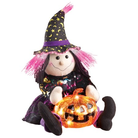 Light Up Fiber Optic Halloween Witch With Pumpkin Tabletop