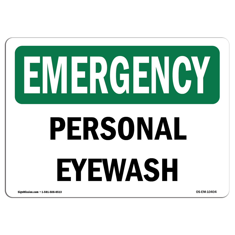 OSHA EMERGENCY Sign - Personal Eye Wash  | Choose from: Aluminum, Rigid Plastic or Vinyl Label Decal | Protect Your Business, Construction Site, Warehouse & Shop Area | Made in the USA