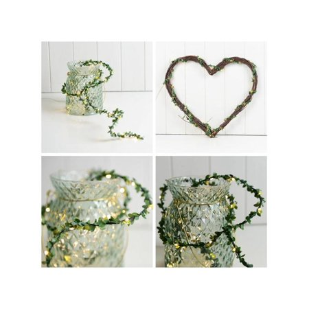 Tinymills Artificial Leaf Vine String Lights Battery Powered Wreath Garland Holiday Fairy Lighting String Christmas Party Wedding Home Garden Decor ()
