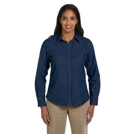 Harriton Ladies' 6.5 oz. Long-Sleeve Denim Shirt Denim Long Sleeve Sport Shirt