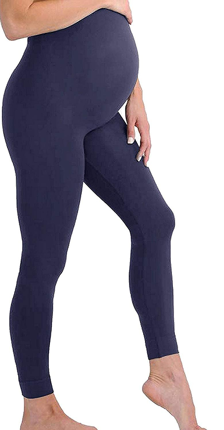 Navy Space Grey Maternity Leggings Seamless Solid Color Nursing Clothes Tights 3 Pack Dark Grey