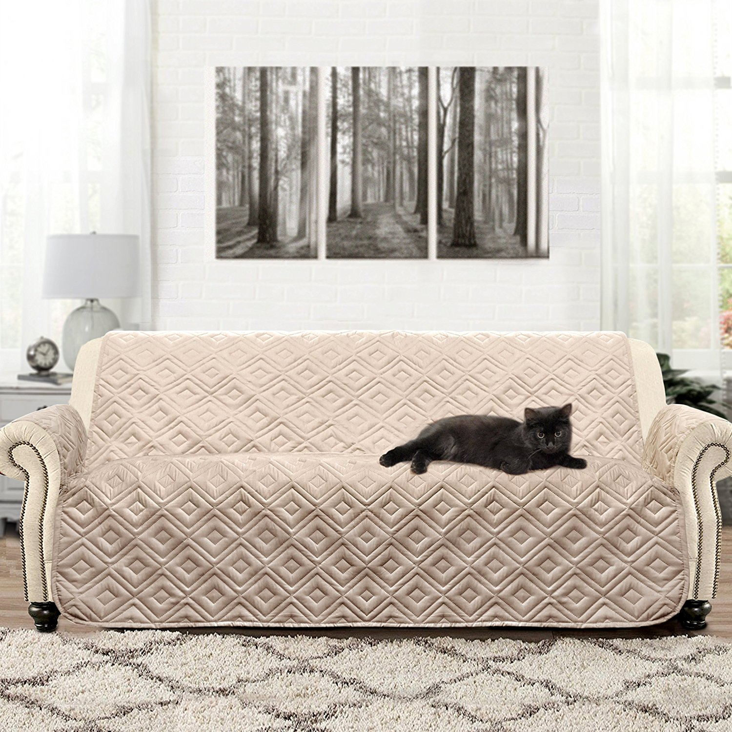 Beau DriftAway Water Resistant Quilted Furniture Protector Sofa Cover Slipcover  For Dogs, Kids, Pets.   Walmart.com