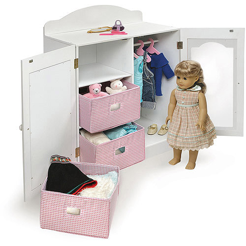 "Badger Basket Mirrored Doll Armoire with Hangers and Baskets, Fits Most 18"" Dolls & My Life As"