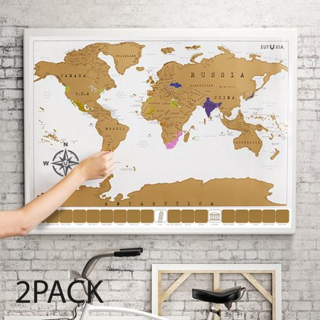 Eutuxia Travel Scratch World Map (34x20 inch) - Track Places Where You've Been To! [2