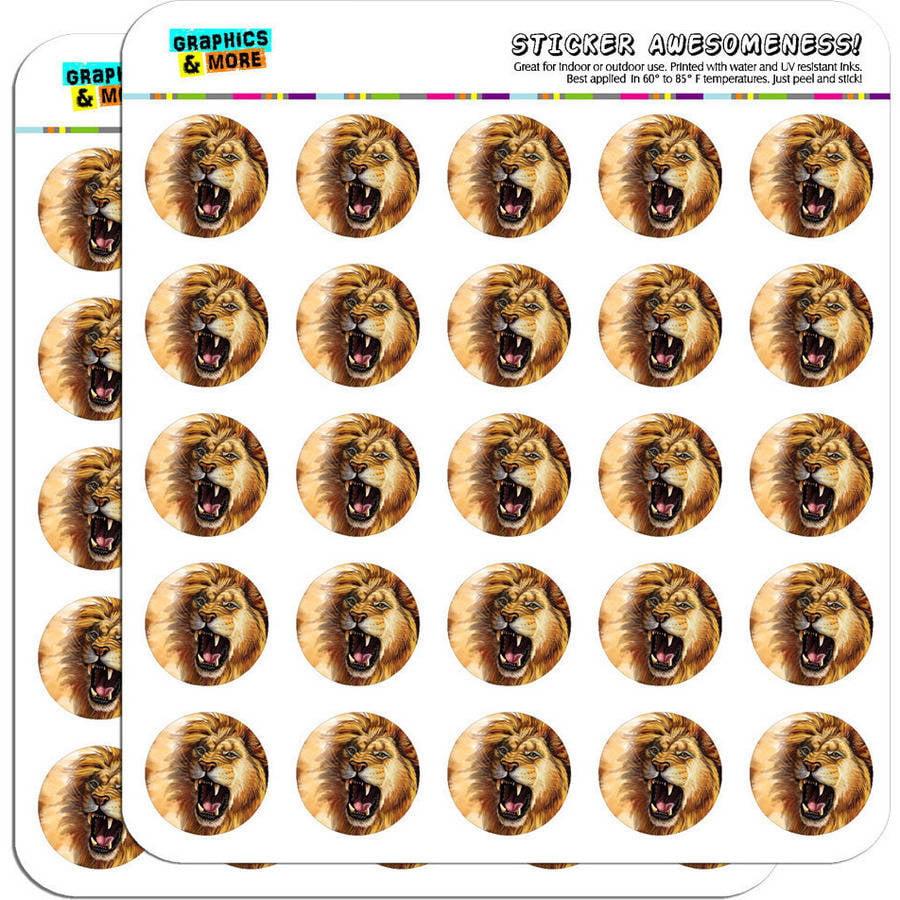 "Lion Roar Big Cat Safari 50 1"" Planner Calendar Scrapbooking Crafting Stickers"