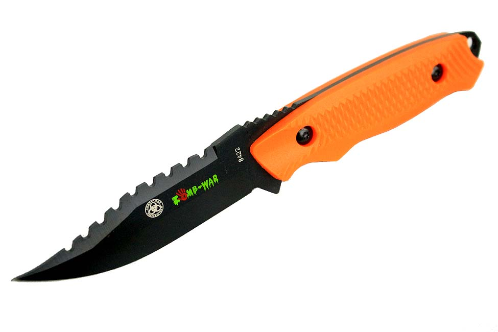 "8"" Zomb-War Rambo Hunting Tactical Survival Knife with Sheath Orange by Zomb War"