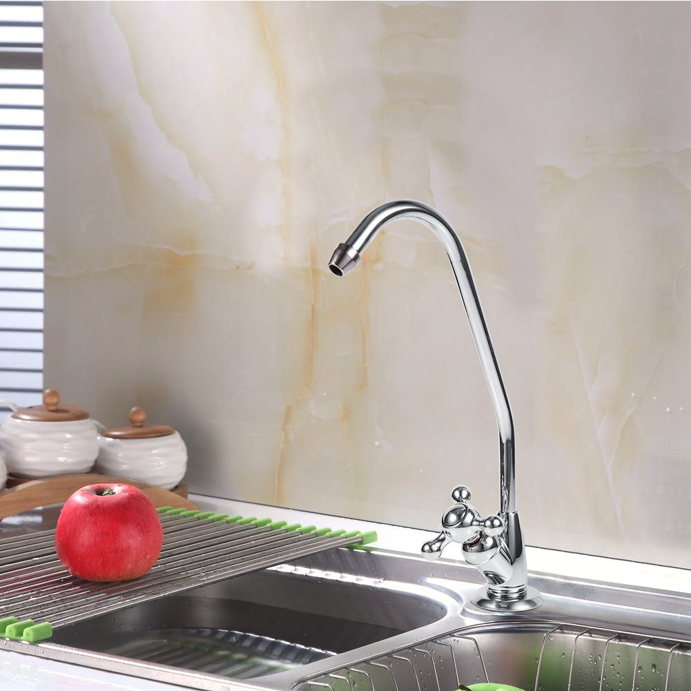 Chrome Kitchen Sink Faucet Single Handle One Hole Drinking Water Tap