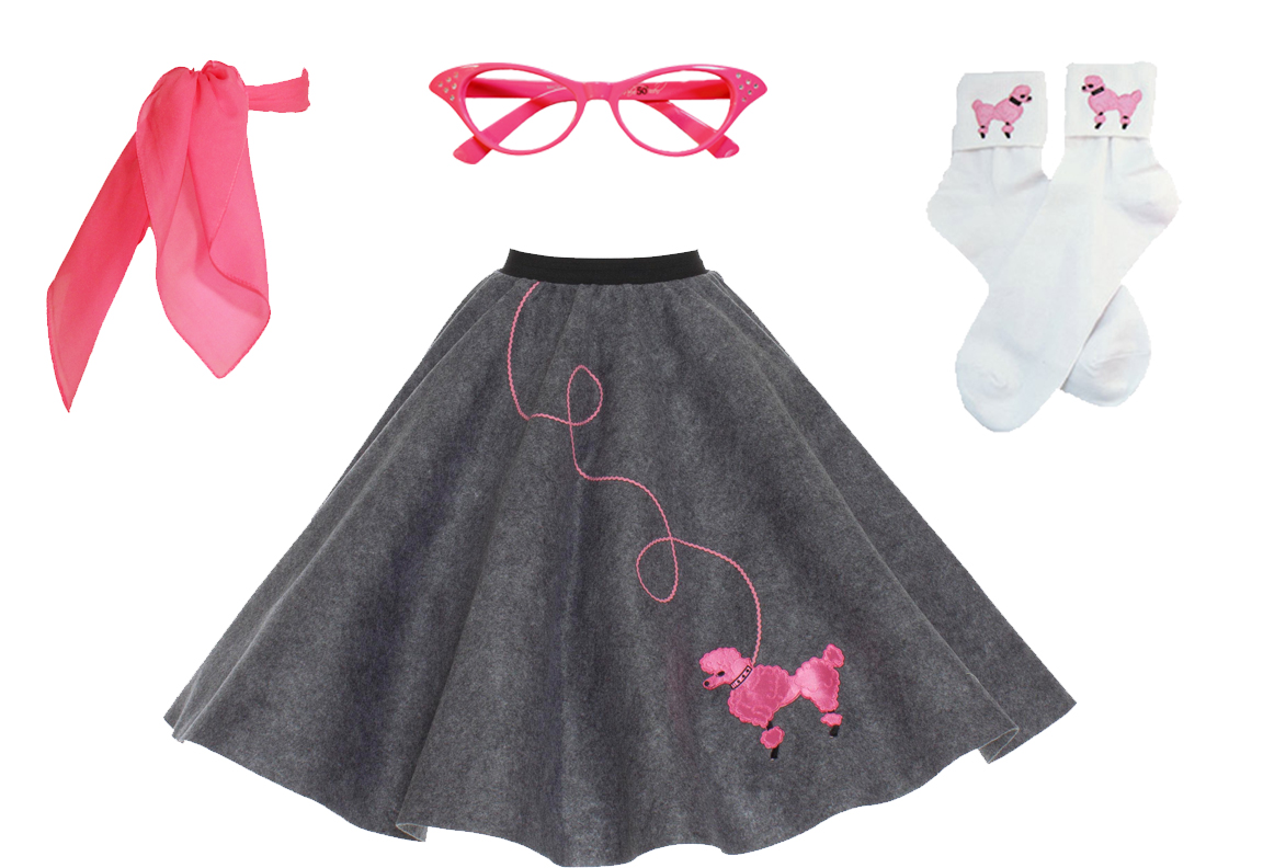 """48/"""" 3-Pc Pink Poodle Skirt Outfit /_ Adult Size XL-3XL /_ Waist 40/"""""""