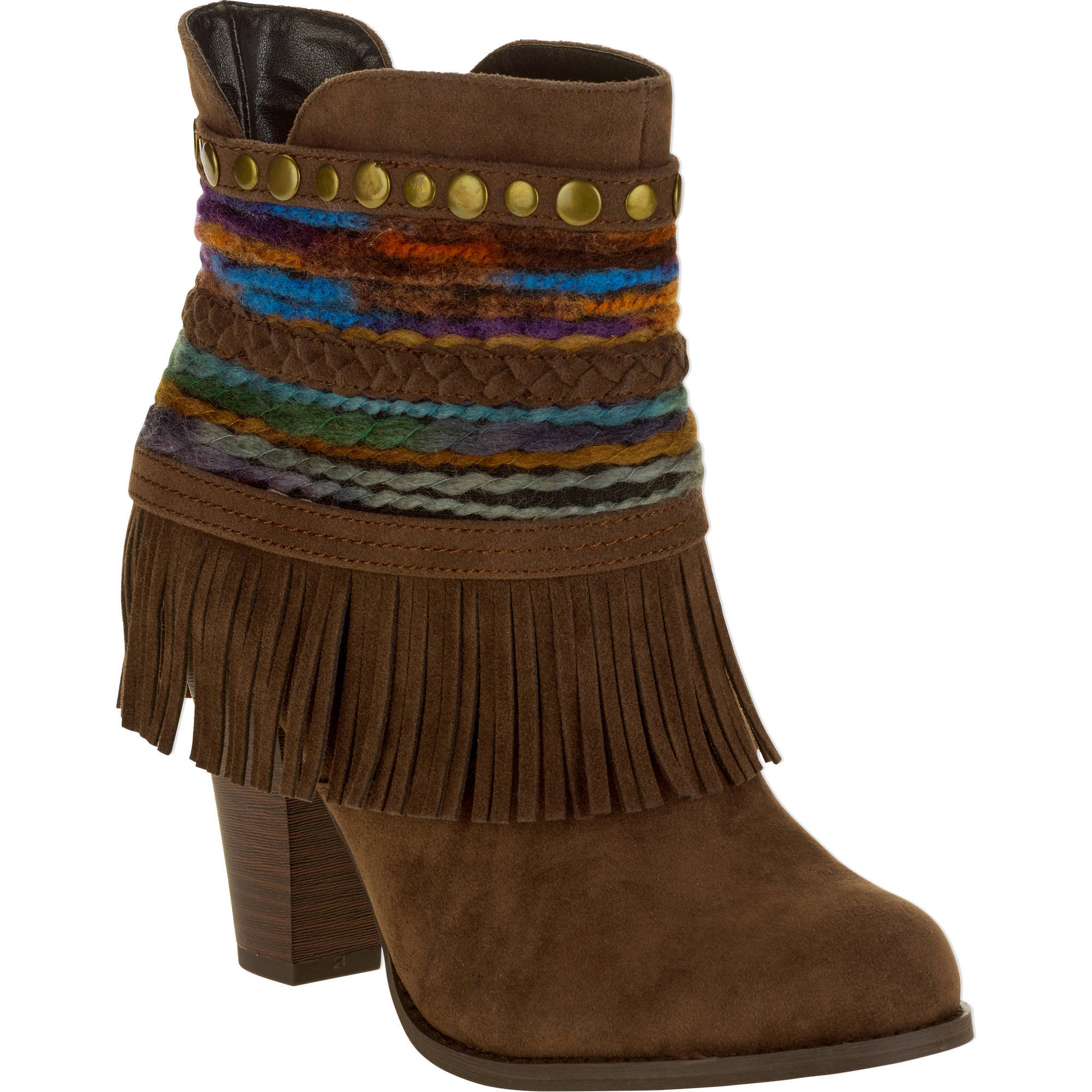MOMO Women's Heeled Ankle Boot with Fringe and Braid Decor