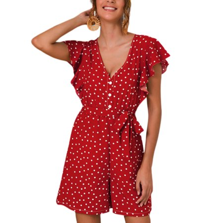 Women's Polka Dot Beach Playsuit Ruffle Frill Short (70's Women's Jumpsuits)