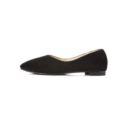 Women's Wide Width Flat Shoes Suede Comfortable Slip On Round Toe Ballet Flats ()