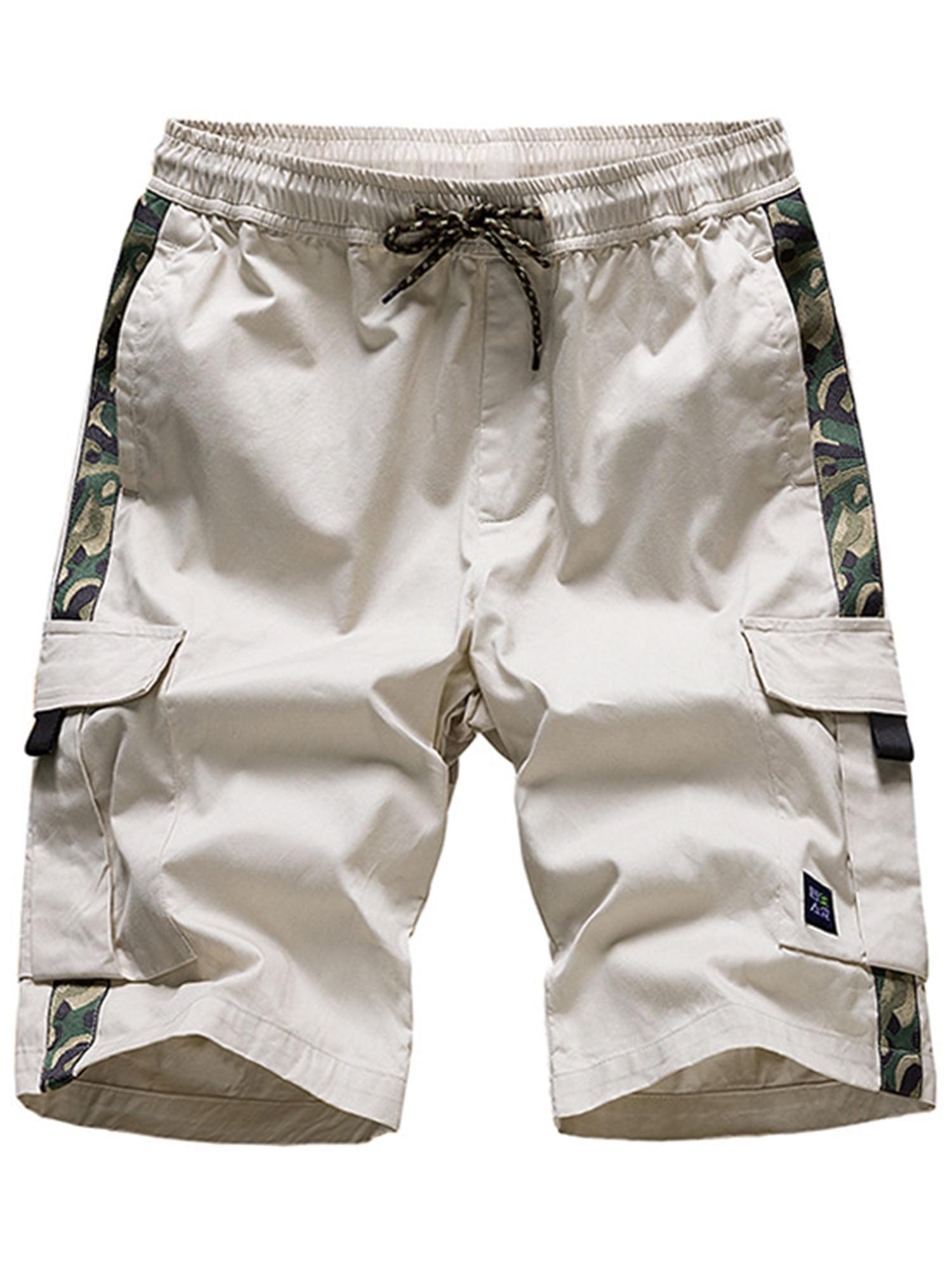 Mens Summer Drawstring Elastic Waist Half Pants Casual Cargo Chino Sweat Shorts