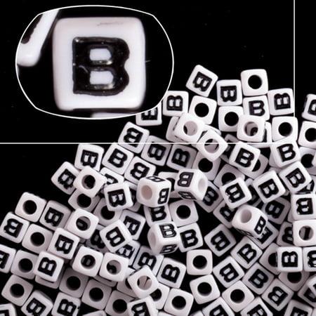 Letter B White Acrylic Cube Alphabet Beads 7mm