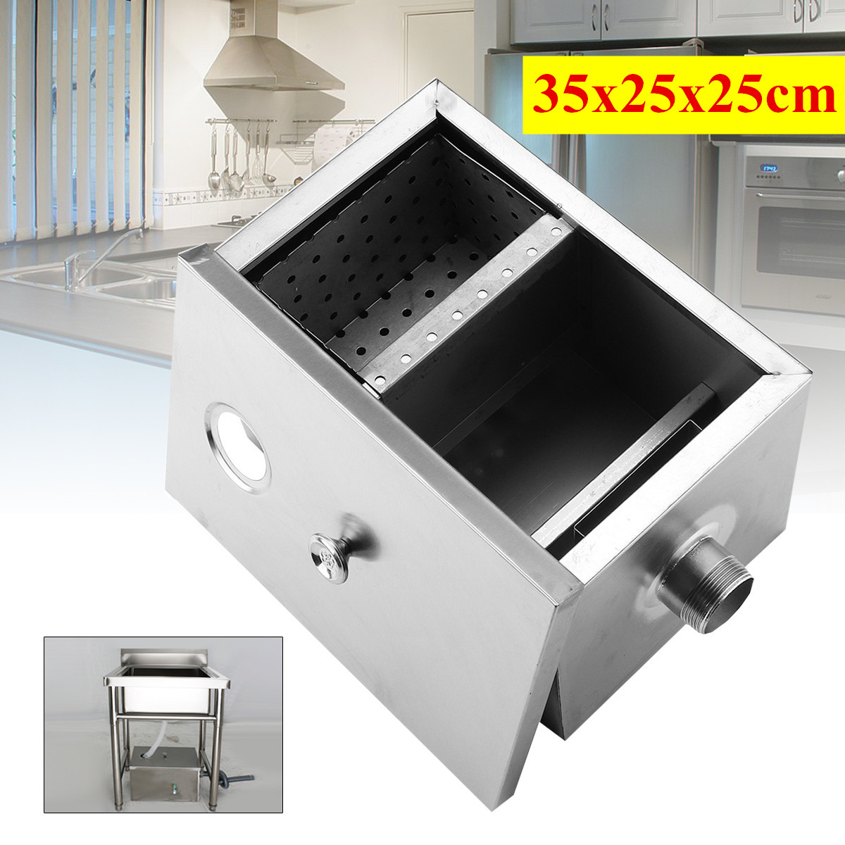 5GPM Gallon Per Minute Grease Trap Stainless Steel Interceptor Filter Kit for Restaurant Kitchen Wastewater