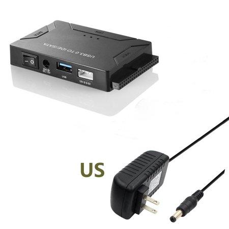 USB 3.0 To IDE SATA Converter External Hard Disk Universal Adapter Data Transfer Converter for 2.5/ 3.5 Inch Optical Drive HDD SSD (US Plug) Sata Data Transfer Rates