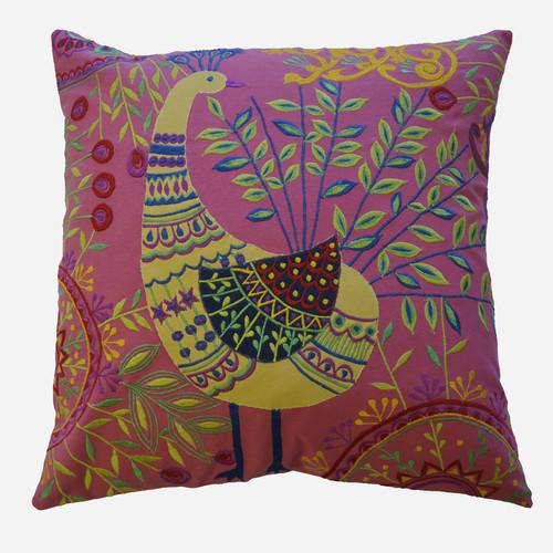 AV Home Boho Peacock Embroidered Cotton Throw Pillow