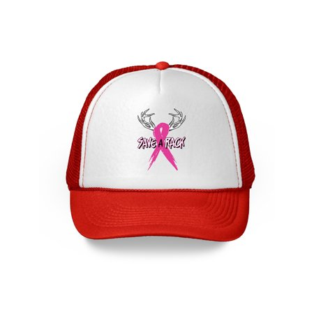Awkward Styles Save A Rack Trucker Hat Breast Cancer Awareness Hats for Men and Women Pink Ribbon Baseball Hat Gifts for Cancer Survivor Cancer Awareness Headwear Breast Cancer Ribbon Dad Hat