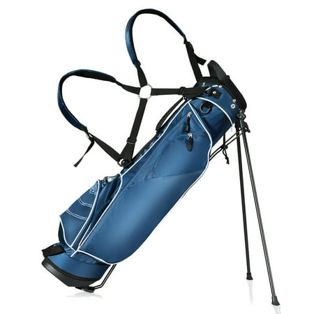 Gymax Blue Golf Stand Cart Bag Club with Carry Organizer Pockets Blue - Golf Bag Kit